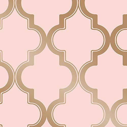 Tempaper MA10635 Marrakesh Removable Peel and Stick Wallpaper, 28 sq. ft, Pink and Metallic Gold