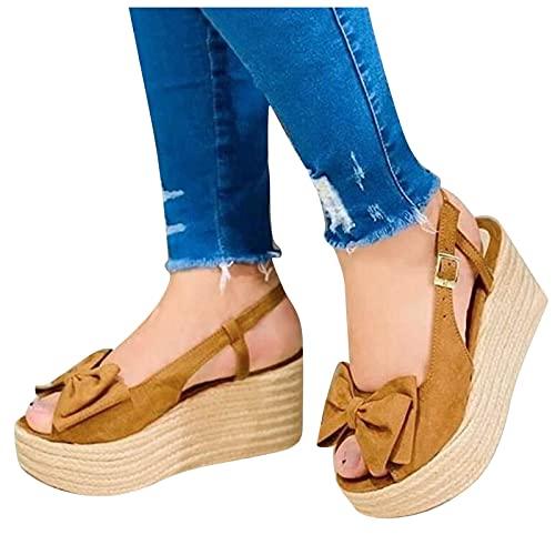 BIBOKAOKE Sandales Plateforme Espadrilles à talon compensé - Sandales romaines - Boucle - Sandales respirantes - Élégantes - Pour l'été