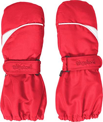 Playshoes Kinder-Unisex Fäustling warme Winter-Handschuhe mit Klettverschluss, rot, 3