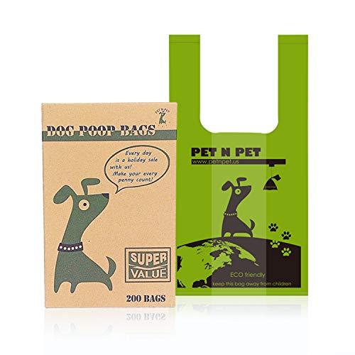 PET N PET 200 Counts Unscented Tie Handle Dog Waste Bags Poop Bags Poo Bags