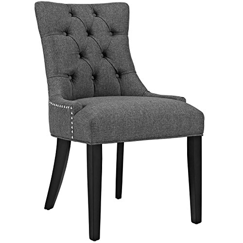 Modway Regent Modern Elegant Button-Tufted Upholstered Fabric With Nailhead Trim, Dining Side Chair, Gray