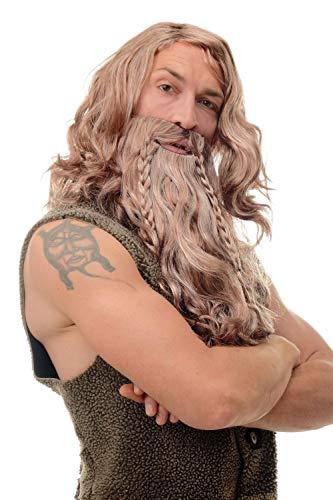 WIG ME UP- 90760-A-B Peluca y Barba Carnaval señores Trenzadas Vikingo Normando enana bárbaro marrón Gris Mixto
