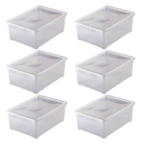 """6x Aufbewahrungsboxen """"Clear Box"""" mit 10 Litern, 36,5 x 26,5 x 14,0 cm - transparent - stapelbar - Kunststoff/Plastik"""