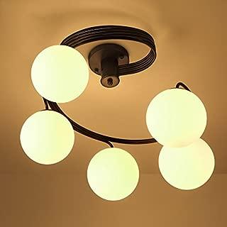 Lovedima Modern Globe Glass Shade Black Metal Swirl Arm 3-Light/5-Light Semi Flush Mount Ceiling Light (5-Light)