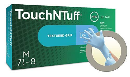 Ansell TouchNTuff 92-670 Nitril Handschuhe, Chemikalien- und Flüssigkeitsschutz, Hellblau, Größe 6.5-7 (100 Handschuhe pro Spender)