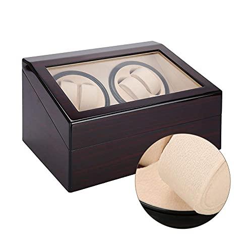 WBJLG Enrollador de Reloj automático Caja de bobinado de Reloj de Pulsera Doble con Motor súper silencioso Almohada de Felpa Flexible en Carcasa de Madera para muñeca de Hombres y Mujeres