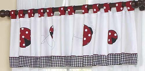 Red and White Ladybug Polka Dot Window Valance by Sweet Jojo Designs