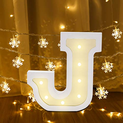26 Alphabet Letter Lights Sign LED Light Up White Plastic Marquee Letters Standing Hanging for Night Light Wedding Birthday Party Battery Powered Christmas Lamp Home Bar Festival Decoration (J)