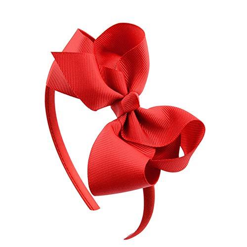 Qinlee Kinder Haarreifen mit Bow Haarschmuck für Mädchen Ripsband Bänder Haarreife Schleife Stirnband Haarreif mit Bogen für Damen Mädchen für Party Dekoration(Rot 2)