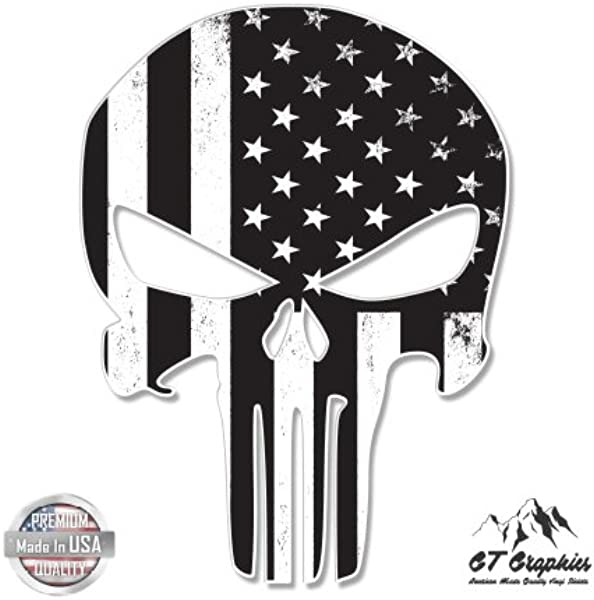 GT Graphics Punisher Skull Subdued American Flag Tactical Vinyl Sticker Waterproof Decal
