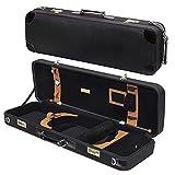 MI&VI Deluxe Hardwood Violin Travel Case 4/4 (Full Size) With Leather Handles | Adjustable Shoulder Straps | Thermal Insulation | Oblong Shape | Photo Pocket | Hygrometer- By MIVI Music (Black/Black)