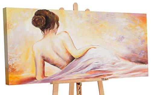 YS-Art | Cuadro Pintado a Mano El forastero | Cuadro Moderno acrilico | 120x60 cm | Lienzo Pintado a Mano | Cuadros Dormitories | único | Amarillo