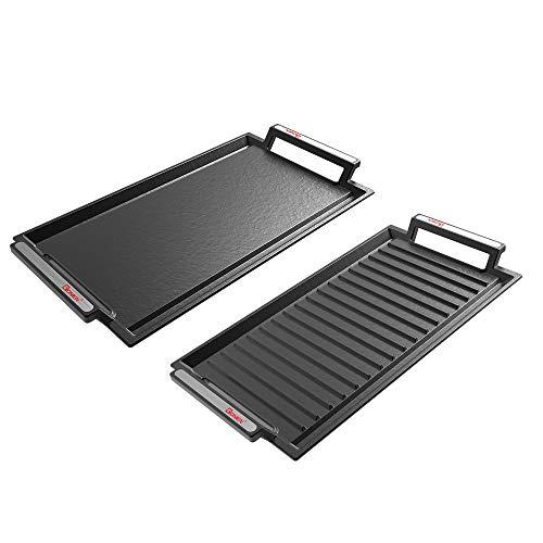 GIONIEN 2 confezioni di piastre in ghisa per fornelli elettrici a induzione, forno con scanalature, piastra per barbecue, superfici piatte e scanalate