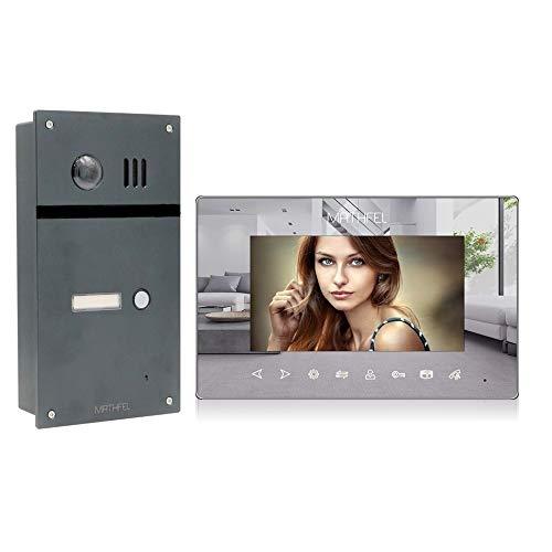 2 Draht Video Fingerprint Türsprechanlage Gegensprechanlage Fischaugenkamera 170 Grad Anthrazit Außenstation, Größe: 1x7'' Monitor Spiegel