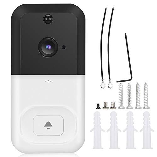 Dioche Aplicación Monitoreo Remoto Timbre con Video inalámbrico, Videoportero con Sensor de Movimiento, Gran Angular de 166 ° para oficinas de Control de Acceso de Aplicaciones iOS /(White)