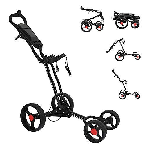 4 Räder Golftrolley, Lappbarer Golf Wagenzum Schieben Und Ziehen, Einstellbarer Manueller Push/Pull-Golfwagen Mit Schirmständer, Scorecard Und Getränkehalter