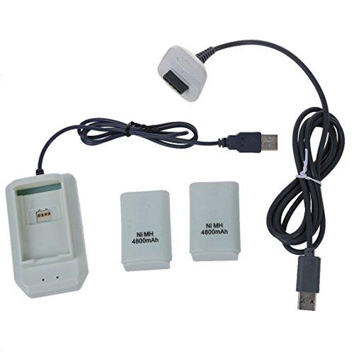 REFURBISHHOUSE 5 en 1 USB 4800mAh bateria y Cargador de Cables Kit para Xbox-360