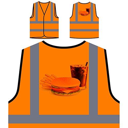 Hamburguesa, papas fritas, y, cola, novedad, divertido Chaqueta de seguridad naranja personalizado de alta visibilidad a943vo