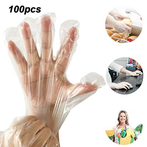 basku 100 Stück Einweghandschuhe, lebensmittelechte Einweghandschuhe, kein Weichmacher oder chemische Substanzen, ideal für Lebensmittel