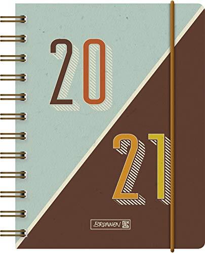"""BRUNNEN 1071750051 """"Retro"""" Tageskalender/Schülerkalender 2020/2021, 1 Seite = 1 Tag, Sa. + So. auf einer Seite , Blattgröße 12 x 16 cm , A6 , PP-Einband"""
