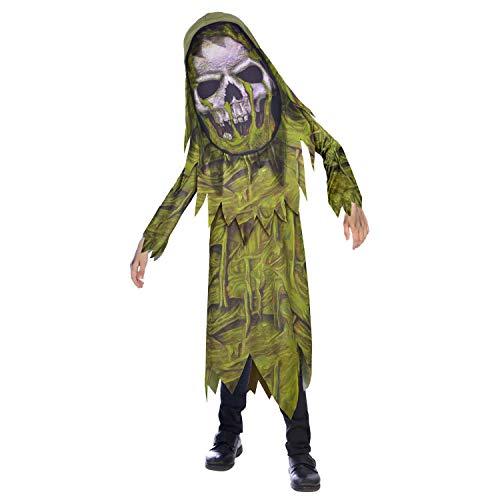 amscan Disfraz infantil Swamp Zombie Big Head de 6 a 8 aos, multicolor, (9907131)