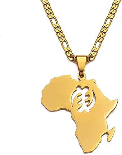 Collares con Colgante de símbolo de Mapa Africano, joyería étnica de Acero Inoxidable de Color Dorado para Mujeres y Hombres, Regalo de Ghana