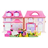 Boley American Doll House - 21 Pc Kids & Toddler Toy House Playset with Small Furniture & Dolls