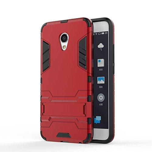Guran Funda para Meizu MX6 cáscara del teléfono Manguito Protector bicapa Mixto Resistente a los Golpes Anti-Deslizamiento TPU+PC (Rojo)