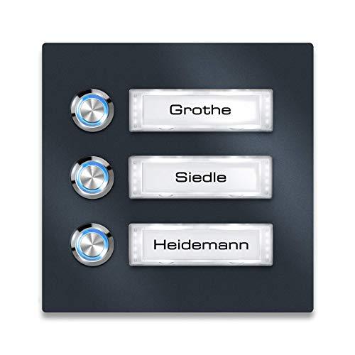 Metzler Türklingel Edelstahl Anthrazit - Namensschild austauschbar - LED-Taster - Aufputz-Montage (mit Beleuchtung, Blau)