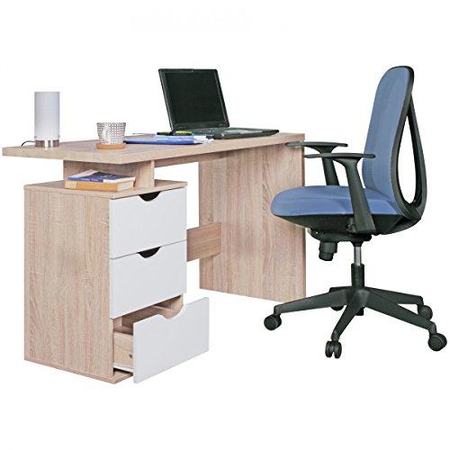KADIMA DESIGN Bureau SAMO 120x76x53cm avec 3 tiroirs à Sonoma Blanc | Bureau d'ordinateur à la Mode pour Les Jeunes | Table d'ordinateur Portable pour économiser l'espace avec Rangement