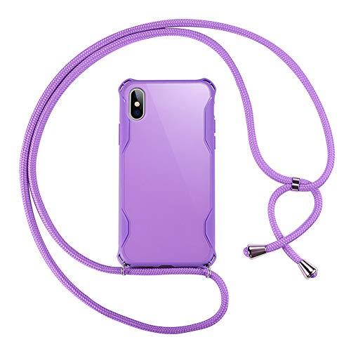 Case Crossbody voor Iphone 11 / SE 2020 / SE 2 met Afneembare Verstelbare Riem Nieuwe 2-in-1 Ontwerpen Modeketen Handige Lanyard-Telefoonhoes,Purple,SE 2