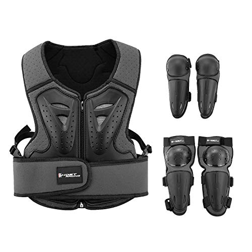 Kids Motorcycle Armor Suit Dirt Bike Gear Riding Protective Gear Chest Protection for Motocross Cycling Skateboard,Skiing,Skating,Off-road (Black)