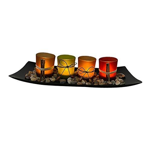 Baoblaze Juego de candelabros para decoración del hogar, candelabros para decoración de Mesa de Centro para Comedor en casa (Bandeja Grande con 4 candelabros)