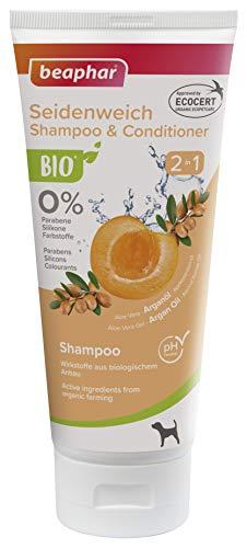 beaphar Bio Shampoo Seidenweich 2 in 1 für Hunde, angereichert mit Arganöl und Aprikosenkernöl aus biologischem Anbau, 200 ml