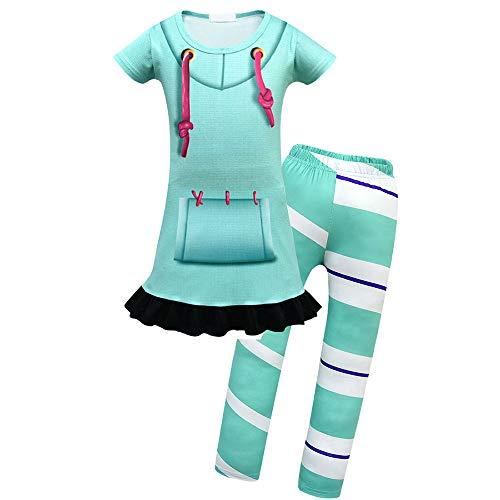 Mukola Girls Cartoon Sweatshirt Dress Legging Costume Pajamas for Kids Green