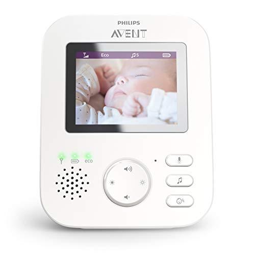 Philips Avent SCD843/01 Babyphone vidéo A-FHSS - écran LCD 3.5', Berceuses, Veilleuse, Alerte...
