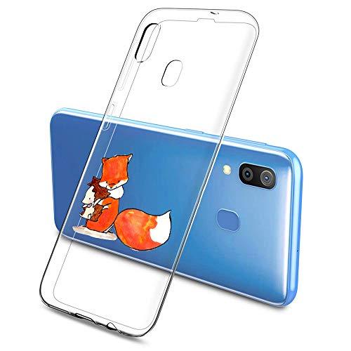 Oihxse Compatible con Samsung Galaxy M10 Silicona Funda Transparente Gel TPU Flexible Protectora Carcasa Dibujos Elefante Patrón Ultra Thin Estuche Cover Case(A1)