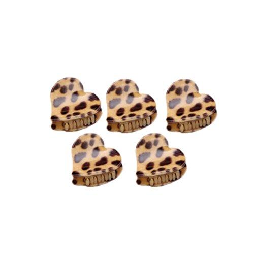 Ensemble de 5 léopard mignon Mini pince cheveux, kaki / coeur