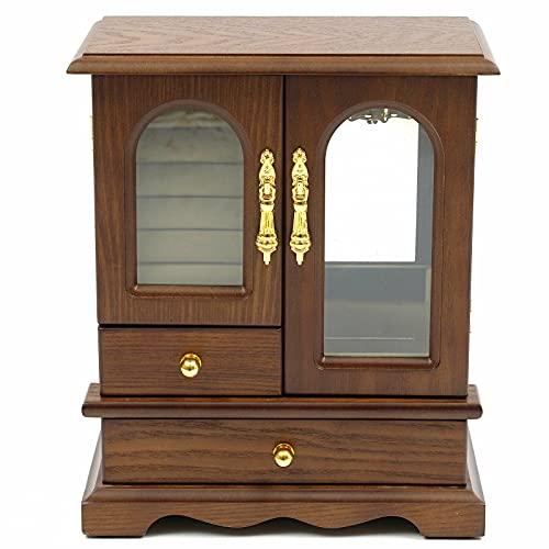 Schmuckkästchen Holz Aufbewahrungsbox mit 2 Schubladen Glastür Schmuck Schrank für Schmuck Ohrring Halskette Aufbewahrungskiste 21,5 x 11 x 27 cm