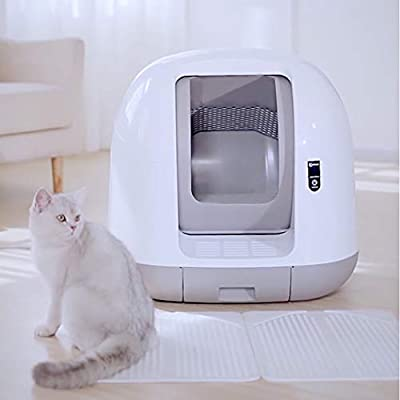 Wlehome Automatic Cat litter box, Large Ultra-Quiet Intelligent Automatic Closed Toilet, Induction Cleaning Deodorant Cat Toilet, Automatically Called Cat Weight,White