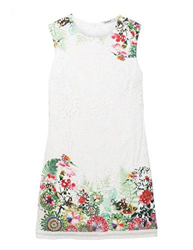 Desigual Vest_magarita Vestido, Blanco (Row 1001), 46 para Mujer