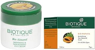 Biotique Bio Papaya Revitalizing Tan Removal Scrub, 75 g|Bio Almond Soothing And Nourishing Eye Cream, 15g|Set of 2 Items