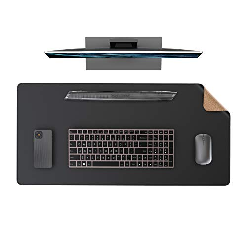 """2020 New Updated Desk Pad, Waterproof PVC Leather Combined with Cork, 31.5"""" x 15.7"""" Dual-Sided Cork Writing Desk Mat Pad, Large Mouse Pad for Office/Home(31.5"""" x 15.7"""", Cork+Black)"""