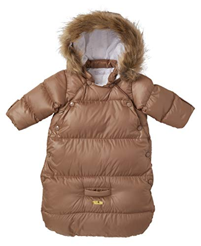 Cremson Girls Boys Newborn Infant Baby Puffer Carbag Pram Bag Snowsuit Bunting (0/6 Months, Tan Snap)
