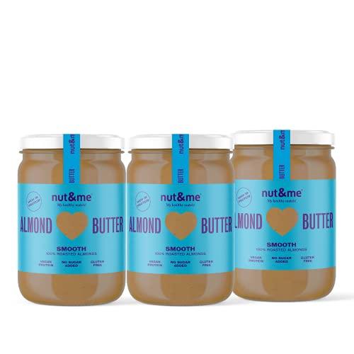 Crema de almendra sin azúcar nut&me | Sin gluten | Sin aditivos | Vegano | Sabroso y cremoso | Sin aceite de palma | Pack 3 botes (0,33gr /unidad)…
