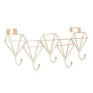 Over Door 4 Coat Hooks | Rose Gold Door Hooks | 4 Hook Hangers | Over Door Hooks | Clothing Hooks for Bedrooms | Coat, Scarf, Hat Hangers | M&W