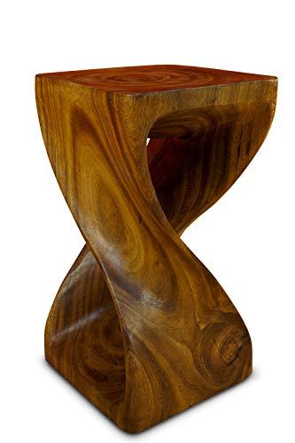 Kinaree Akazie Beistelltisch Twist - 50cm gedrehter Holzhocker auch als Blumenständer geeignet