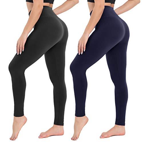 Damen Leggings Sporthose mit Hohem Bund - Yogahose Laufhose Fitnesshose Leggins Yoga Sport Leggings Tights für Damen zum Laufen, Radfahren, Fitness (2er Pack- Schwarz& Dunkelblau, Plus Size(DE 42-48))