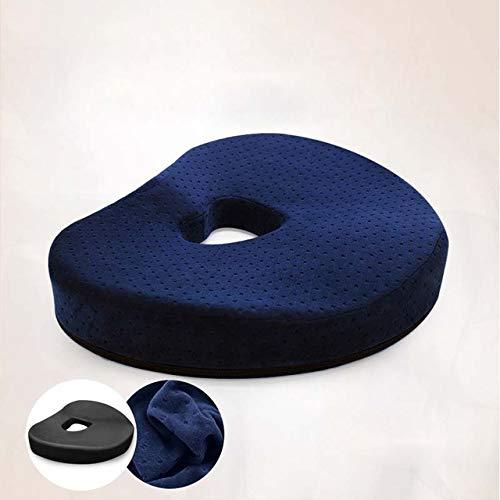 OLI hartvormig stuitbeen-orthopedisch geheugenschuim kussen voor optimale verlichting van rugpijn 42 x 33 x 7,5 cm blauw