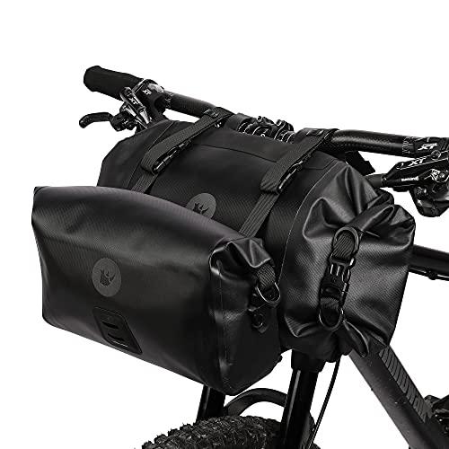 Wildken 2PC Fahrradlenker-Taschen-Set Wasserdichter Fahrrad-Schlauchbeutel mit großer Kapazität Aufbewahrungstasche Umhängetasche